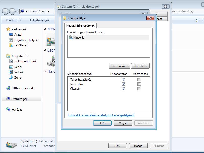 Windows 7 hálózati megosztás és az UAC