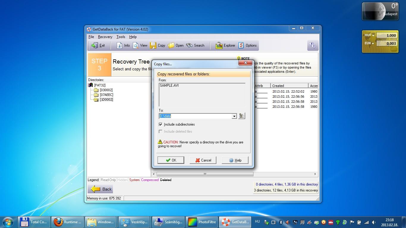 Runtime - GetDataBack - adatvisszaállítás, adatmentés