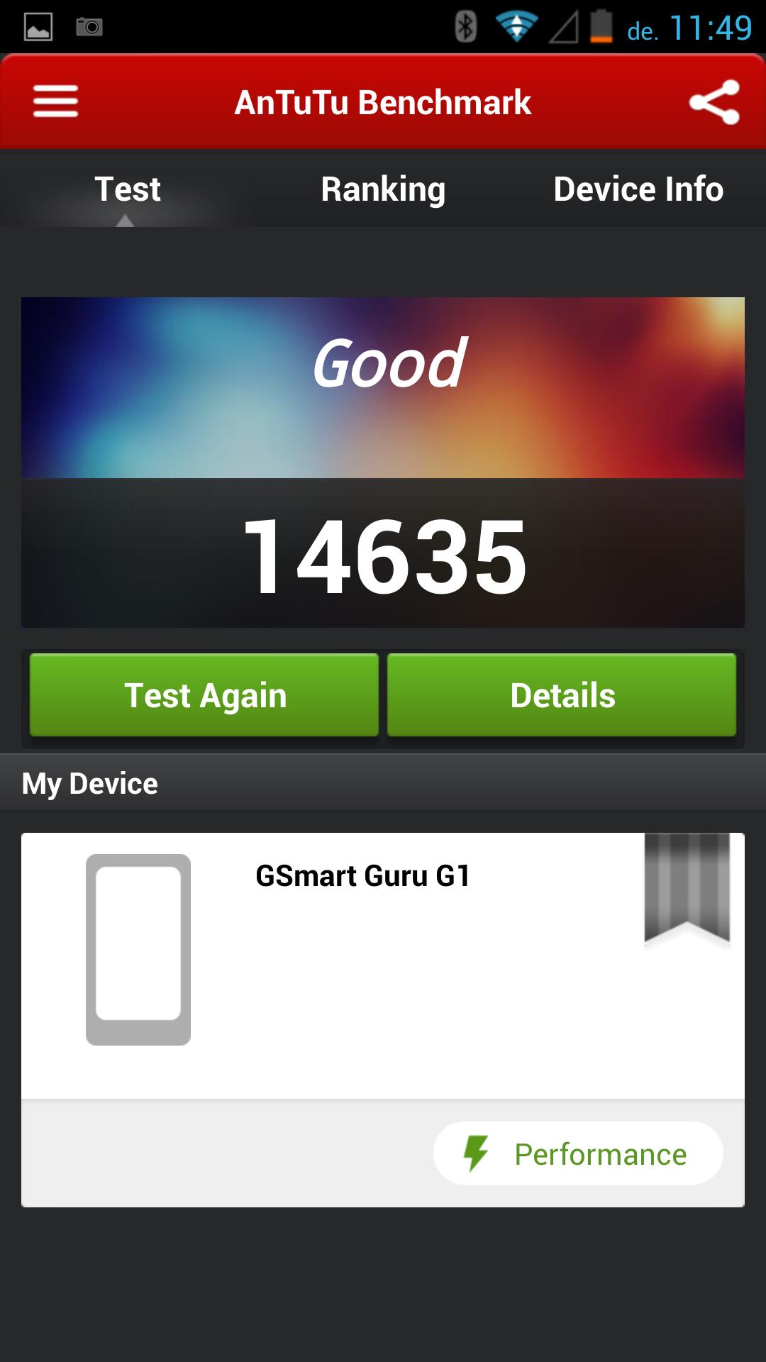 Gigabyte GSmart Guru G1 - Antutu Benchmark