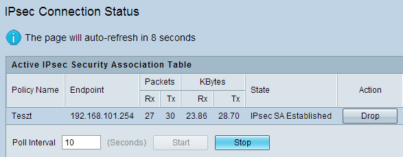 A beállított IPsec kapcsolatok monitorozása