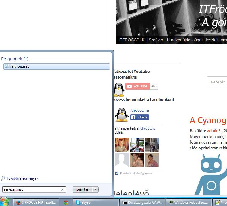 Windows szolgáltatások - services.msc