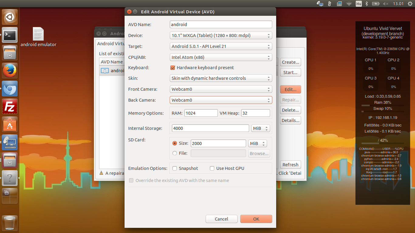 Ubuntu 15.04 - Android Lollipop Emulator