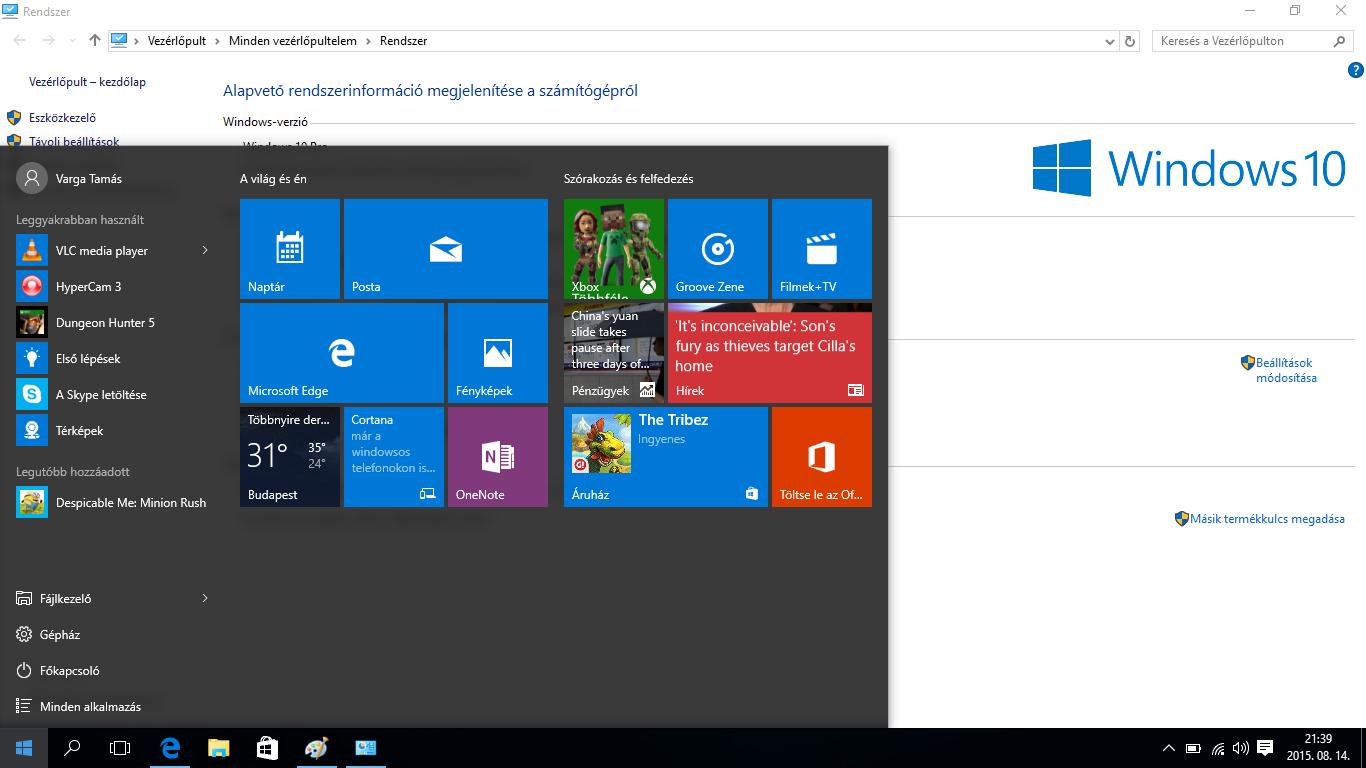 Microsoft Windows 10 bemutató