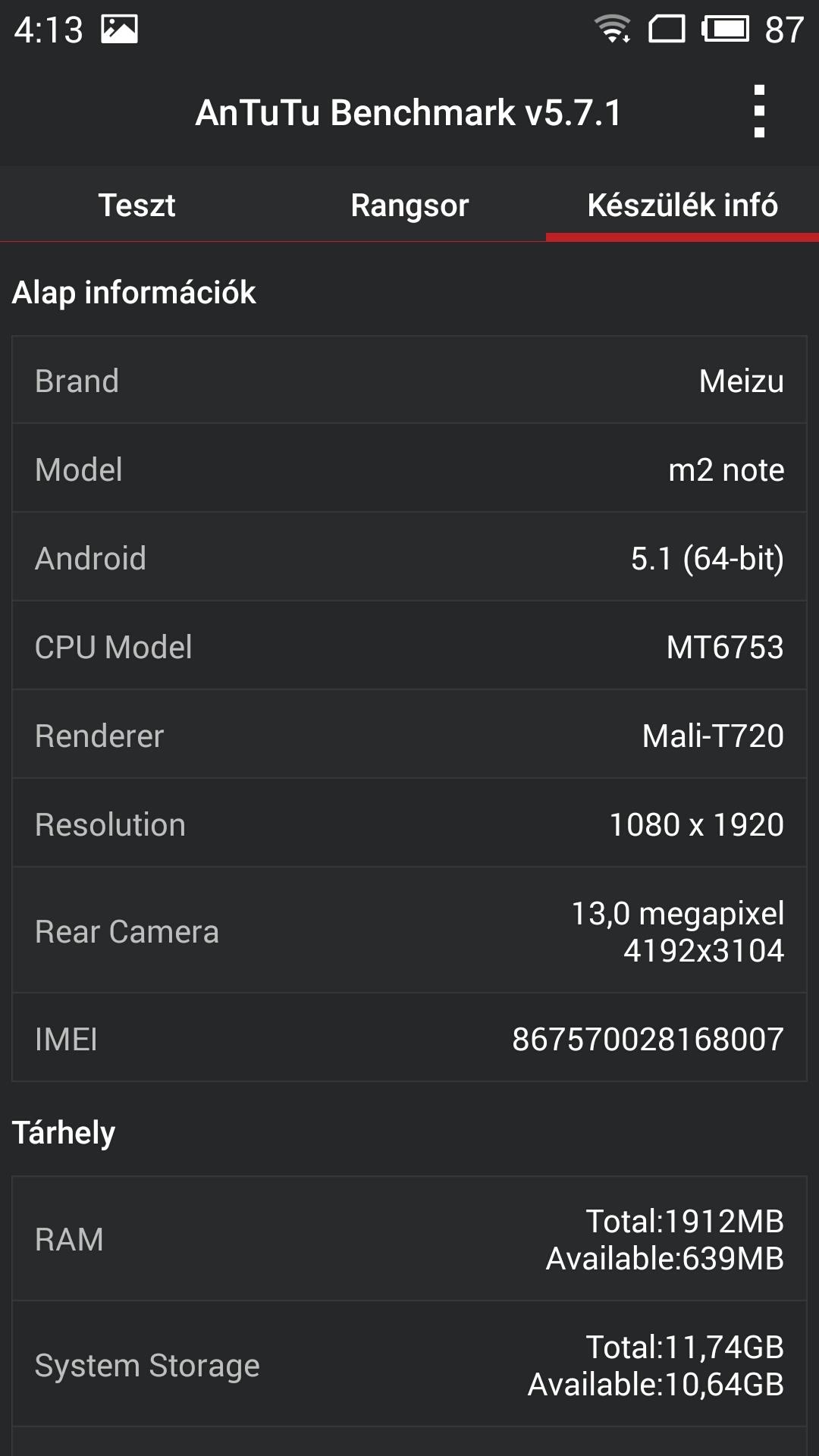 Meizu M2 Note - Antutu Benchmark
