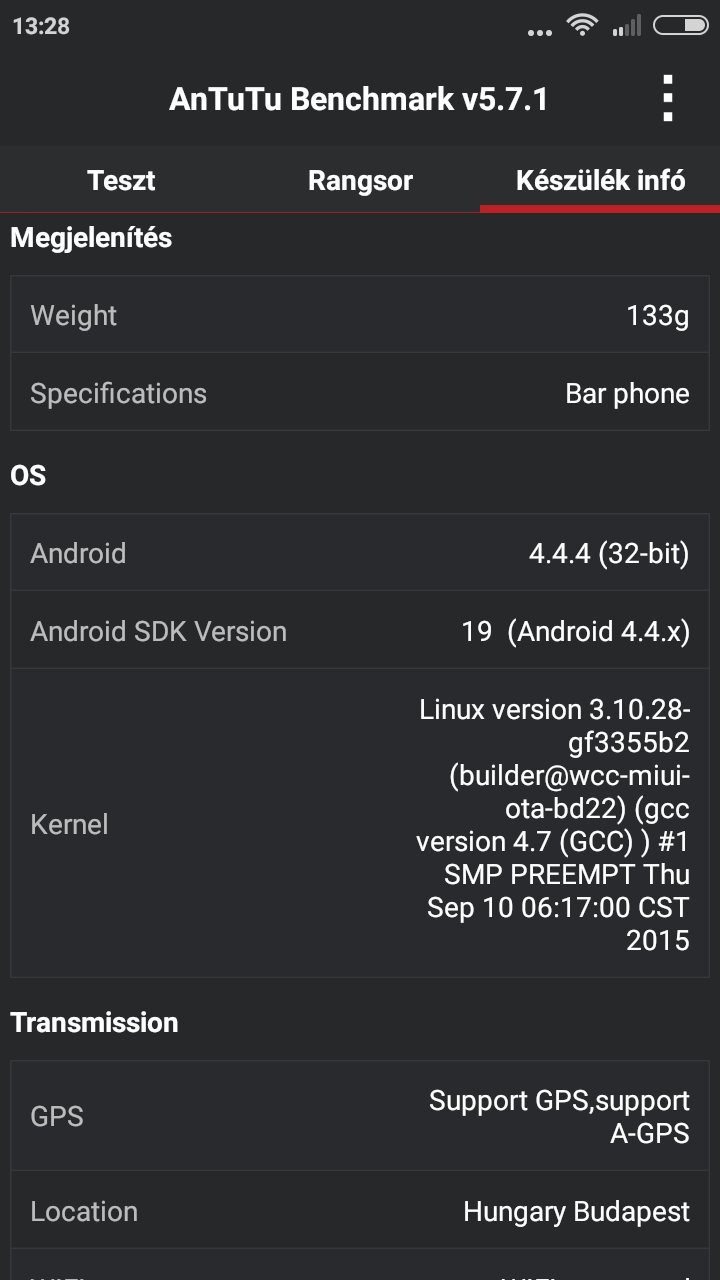 Xiaomi Redmi 2 Pro - Antutu Benchmark