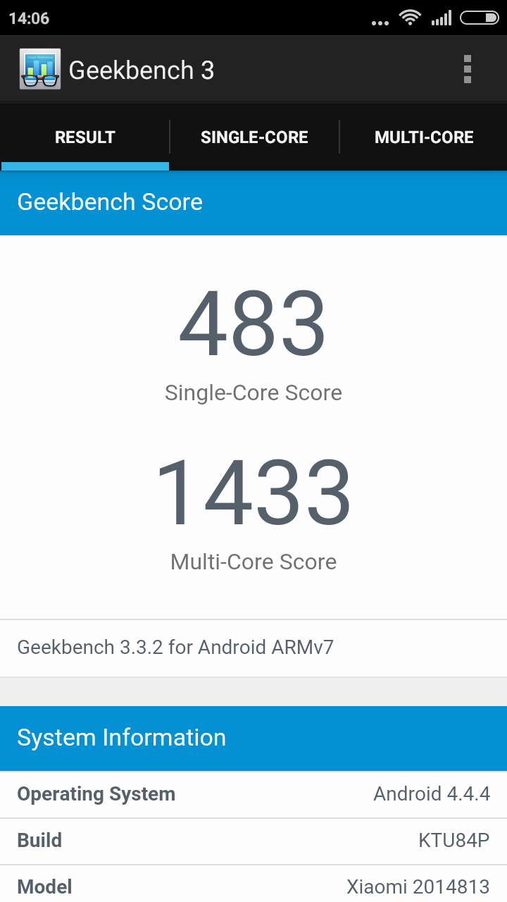 Xiaomi Redmi 2 Pro - Geekbench 3