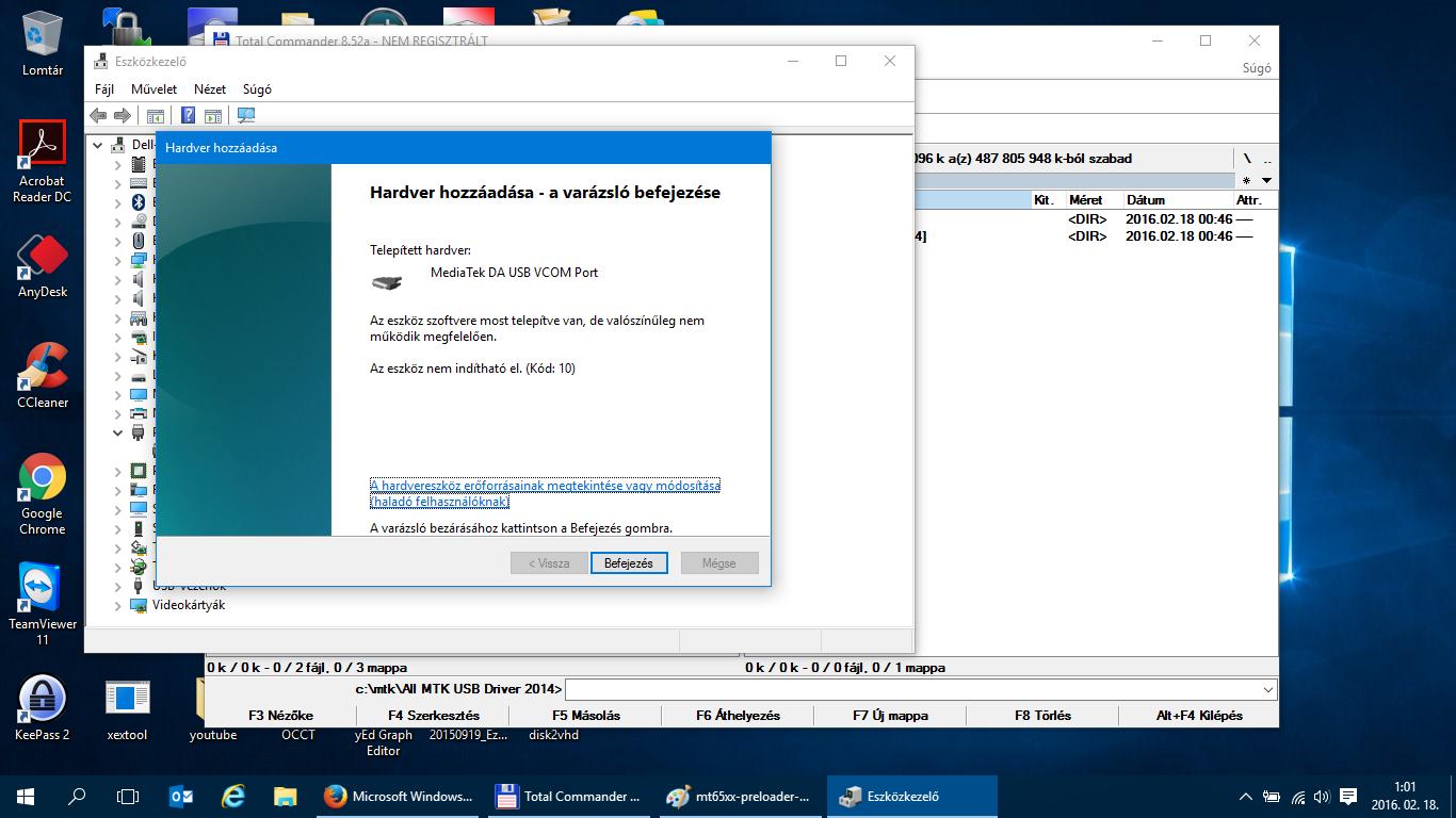 Microsoft Windows 10 - MT65XX driver - preloader telepítés