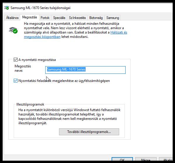 Windows 10 nyomtató megosztás