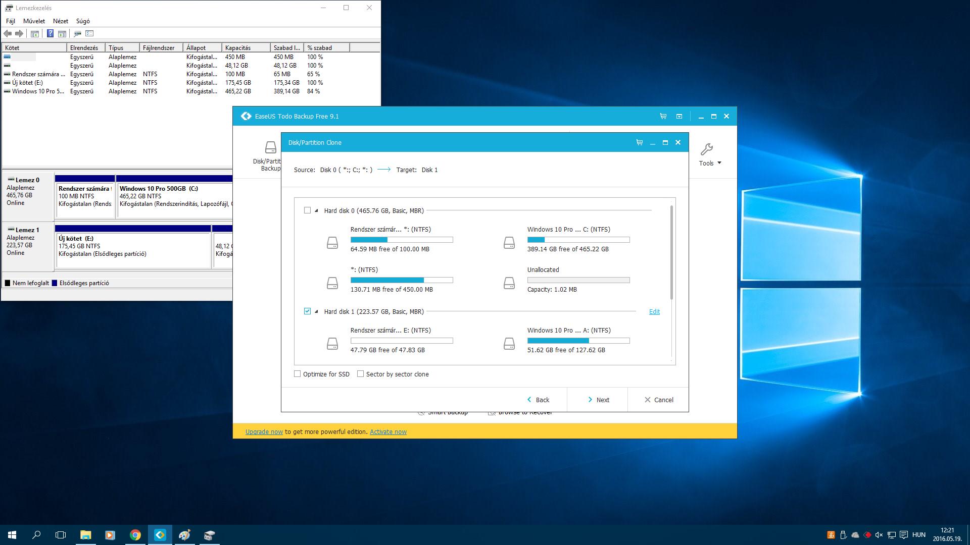 SSD Upgrade - Adatköltöztetés - EaseUS Todo Backup Free 9.1