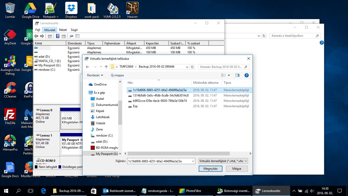 Biztonsági mentés és visszaállítás (Windows 7, Windows 8, Windows 8.1, Windows 10)