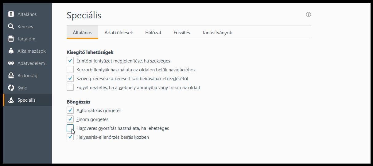 Mit tegyünk, ha a Firefox fekete képernyővel indul és használhatatlan!?