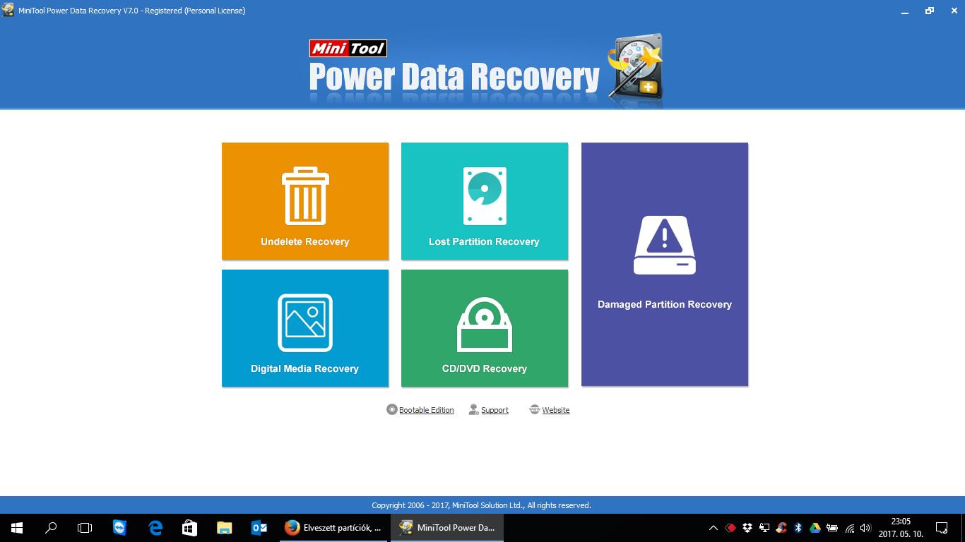 Elveszett partíciók, törölt adatok visszaállítása - MiniTool Power Data Recovery 7.0