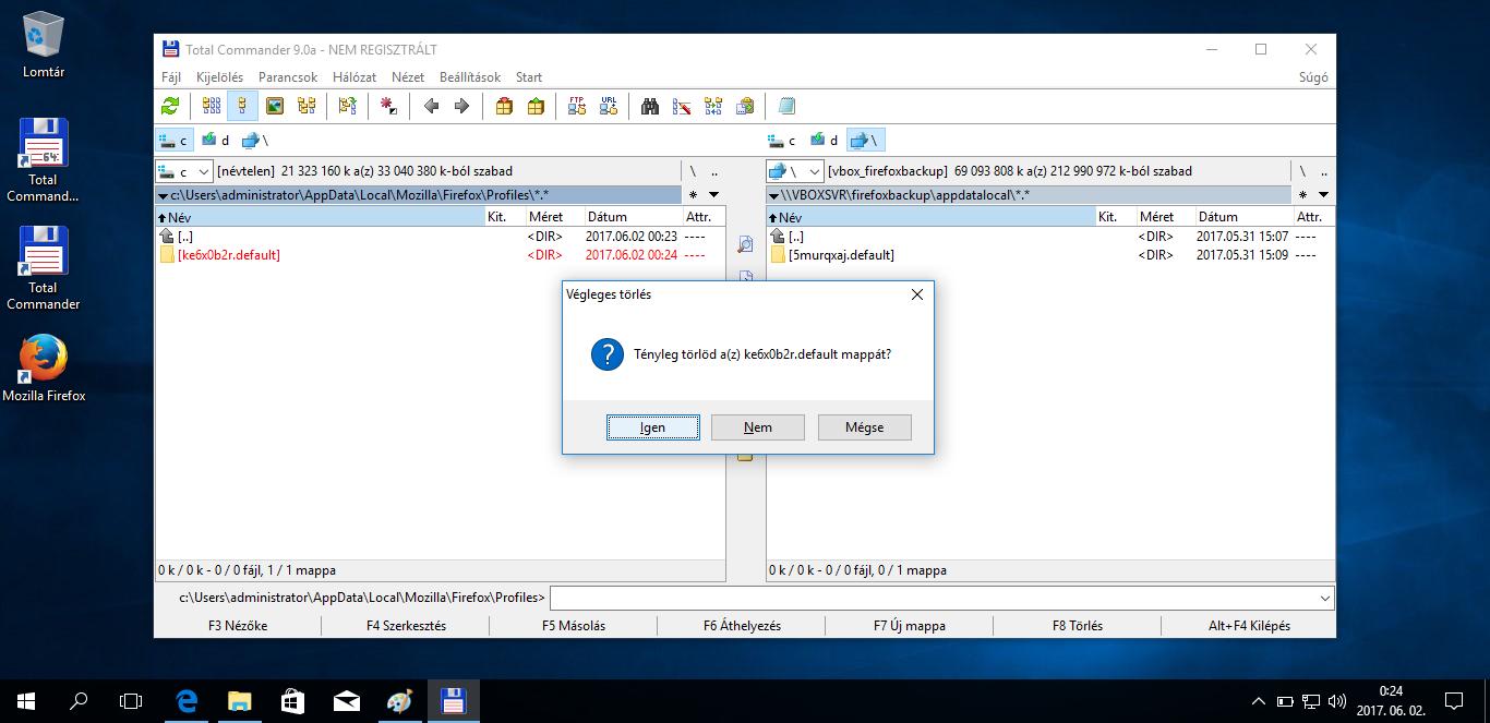 Mozilla Firefox Profil költöztetés Windows 10