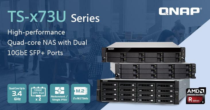 A QNAP bemutatja a TS-x73U rackbe szerelhető NAS-t AMD R-Series Quad-core processzorral, duál 10GbE SFP+ porttal, M.2 SSD hellyel és akár 64GB DDR4 RAM-mal