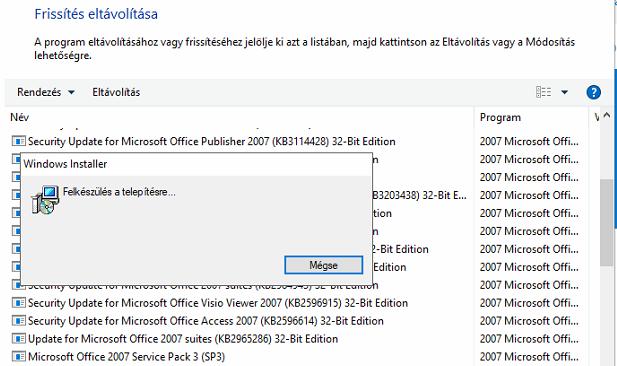 Microsoft Office 2007 kicsit svéd, kicsit magyar nyelven egy hibás frissítés után KB4011086