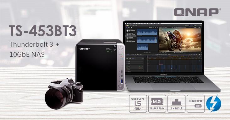A QNAP bemutatja a kreatív szakemberek számára készült quad-core 4 rekeszes TS-453BT3 Thunderbolt 3 NAS-t