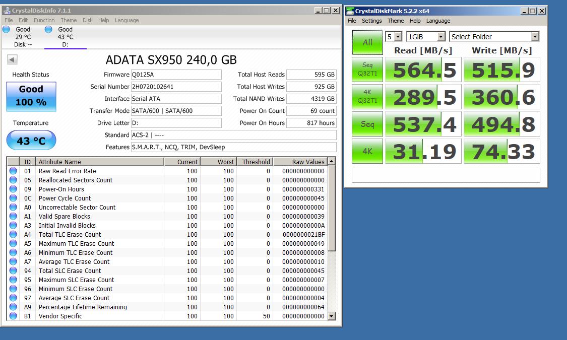 ADATA XPG SX950 240GB Gaming SSD - Crystaldiskmark, Crystaldiskinfo