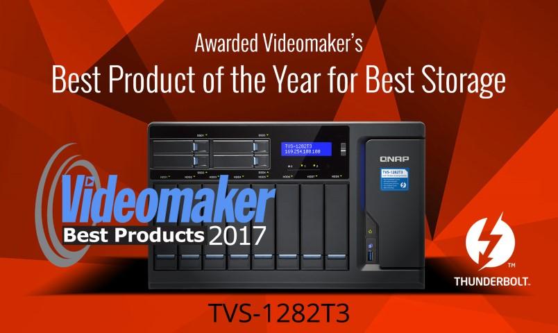 """A QNAP TVS-1282T3 Thunderbolt 3 NAS megkapta a Videomaker Magazine """"2017 Legjobb Terméke"""" díját a legjobb adattároló kategóriában"""