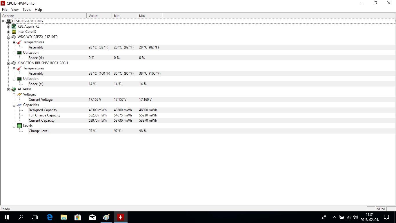 Acer TravleMate P2 (P2510) notebook bemutató - HWMONITOR