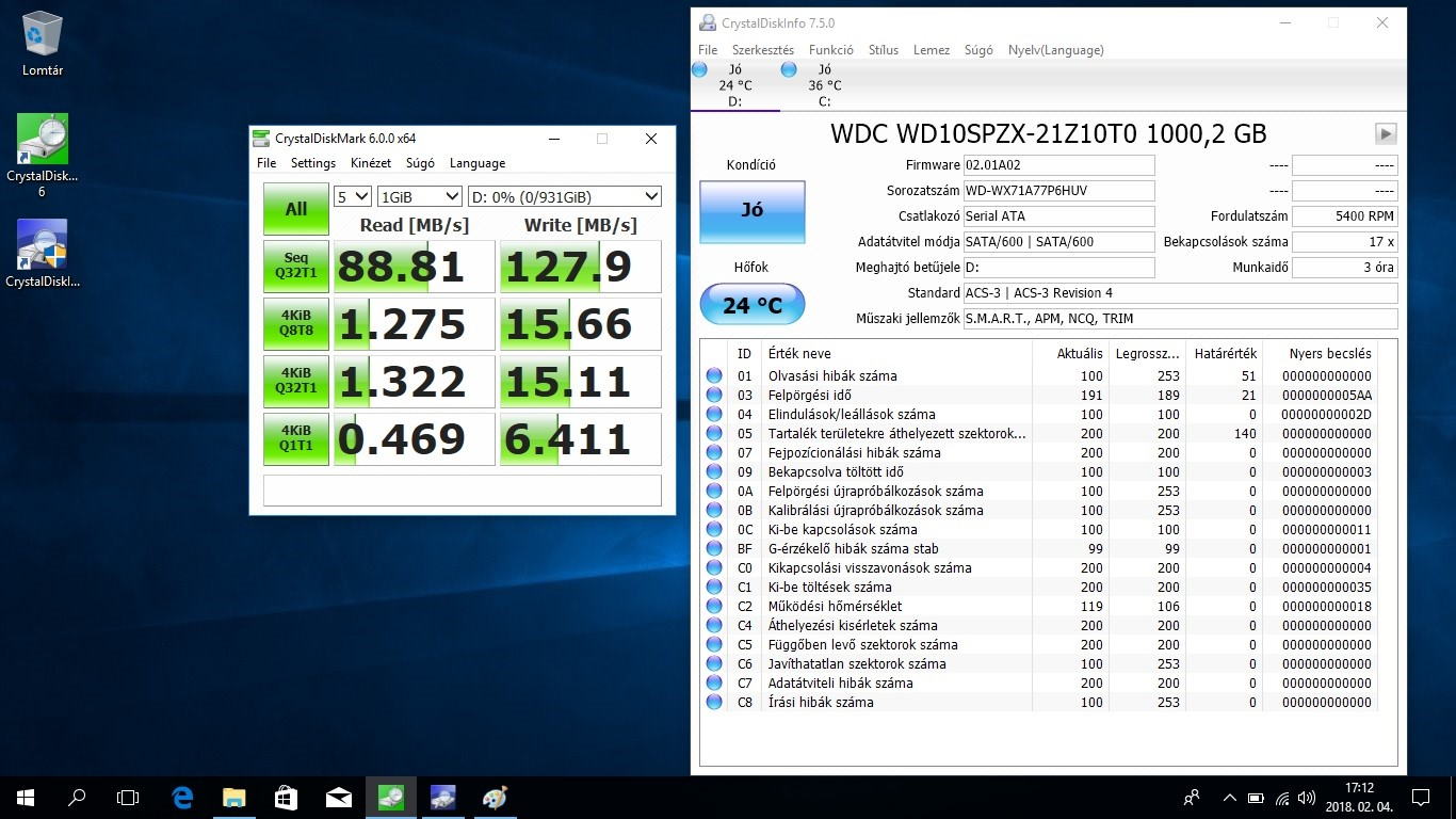 Acer TravleMate P2 (P2510) notebook bemutató - Crystaldiskmark WD10SPZX 1TB HDD