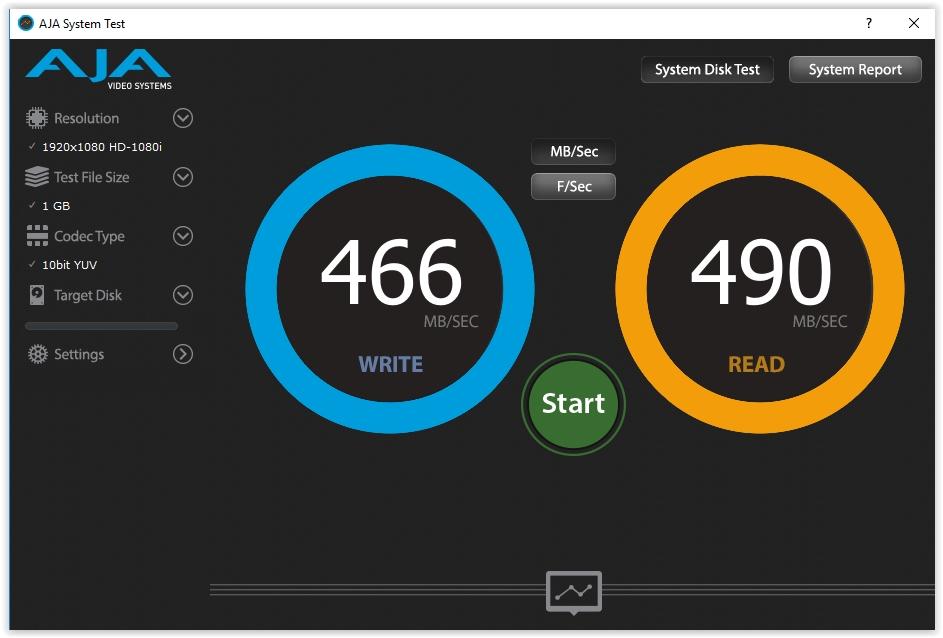 LaciE Rugged Thunderbolt USB-C 500GB-os külső SSD kipróbálás - AJA System Test