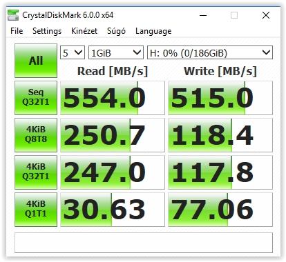 LaciE Rugged Thunderbolt USB-C 500GB-os külső SSD kipróbálás - Crystaldiskmark