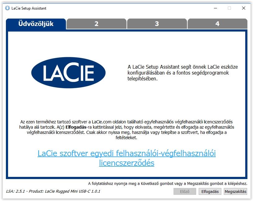 LaciE Rugged Thunderbolt USB-C 500GB-os külső SSD kipróbálás - Szoftvertelepítés