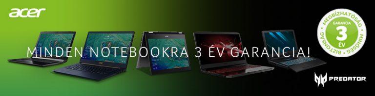 3 Év gyári garancia minden Acer notebookra 2019. augusztus 1-től