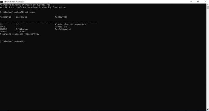 Hálózati megosztások listázása, törlése | Windows 10